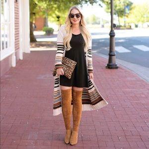 Sweaters - Tan & Black Striped Longline Cardigan Duster
